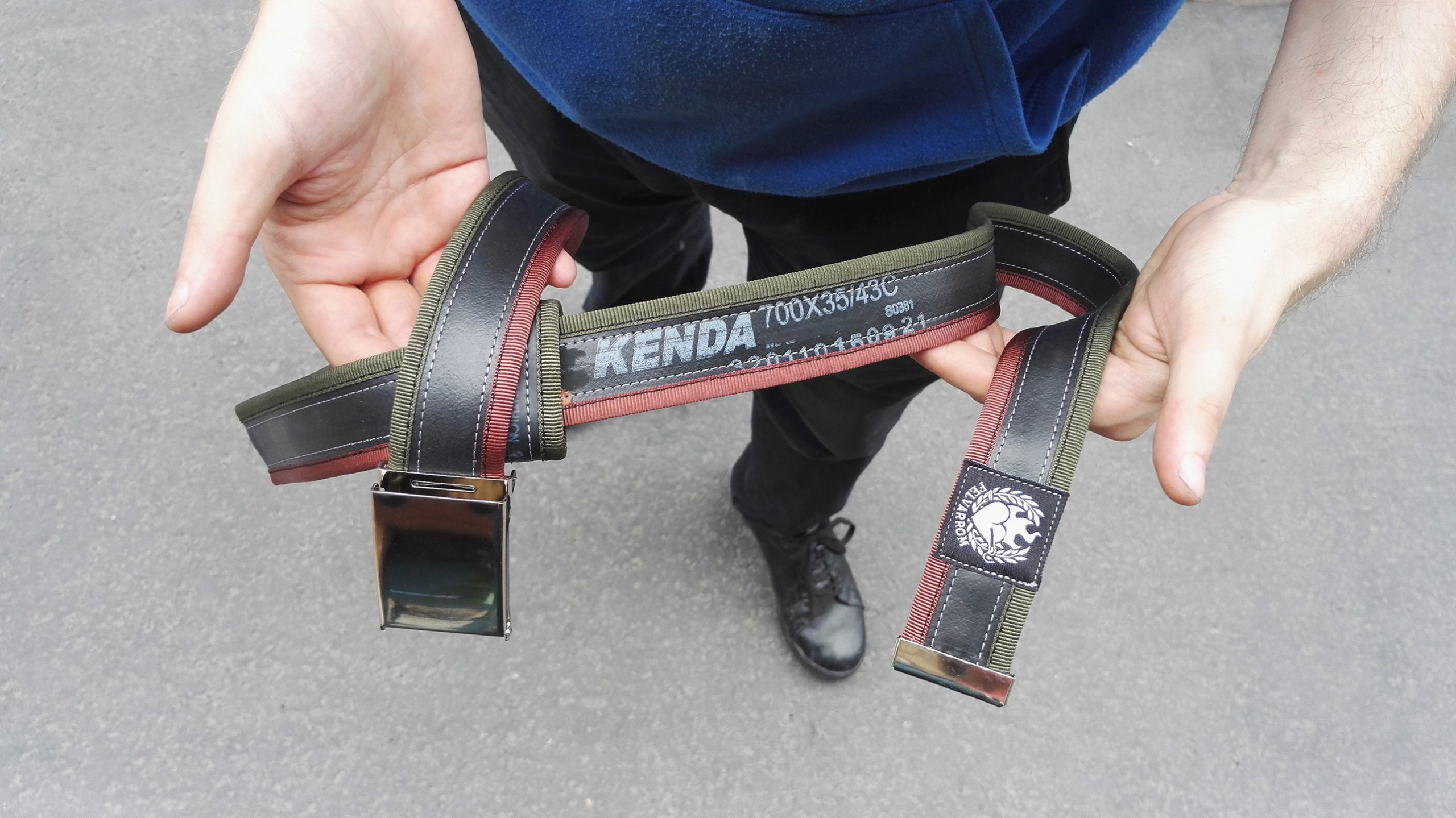 Custom made recycled belt with unique colors