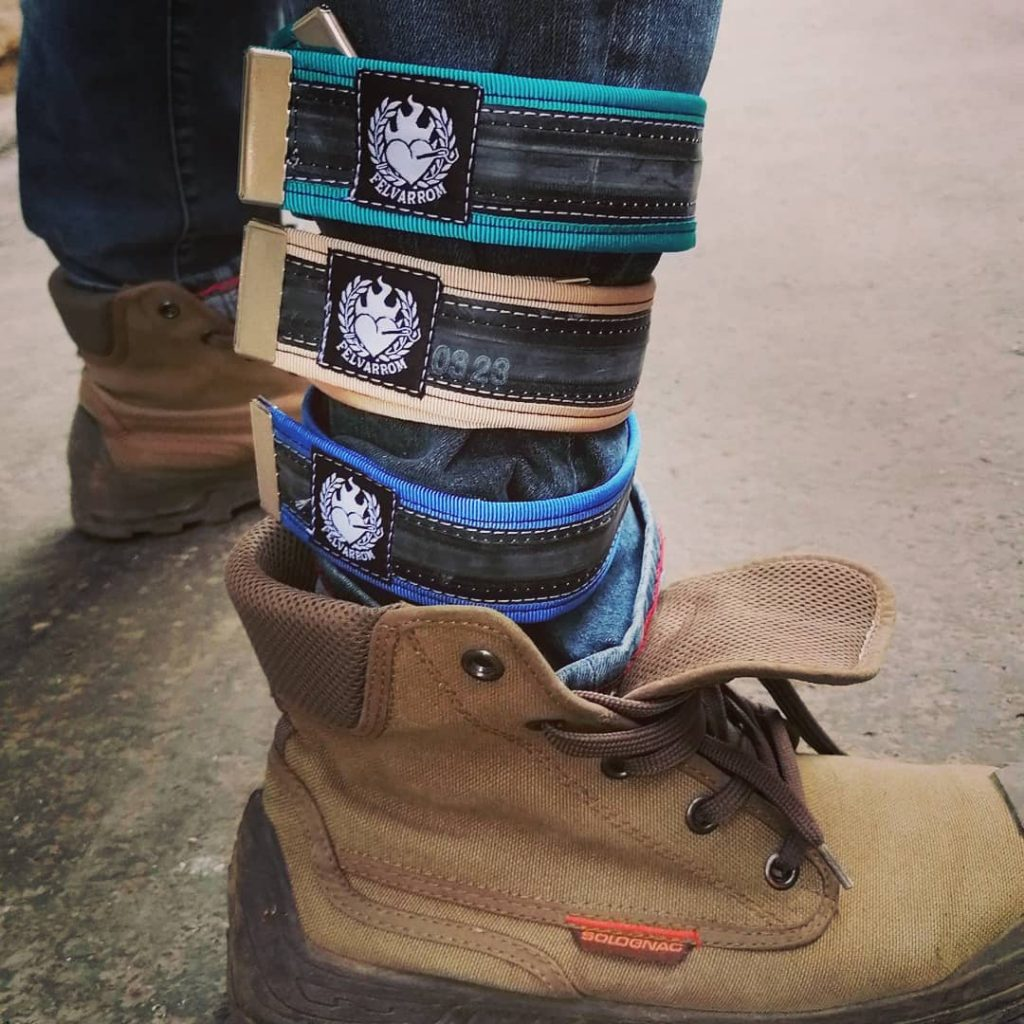 trouser straps for cyclists, from recycled biketube